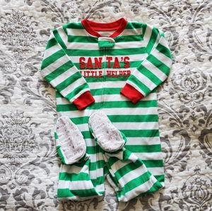 Carter's Green Christmas Fleece Zippered Pajama 18